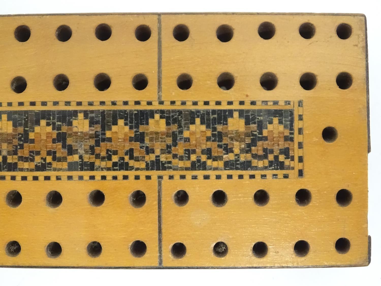 Toys: Three early 20thC cribbage peg boards, comprising a far eastern example with foliate carved - Image 8 of 10