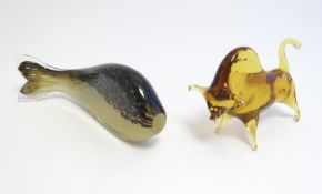 """A Wedgwood glass model of fish together with a Murano glass figure of a bull. The fish 7 1/2"""""""