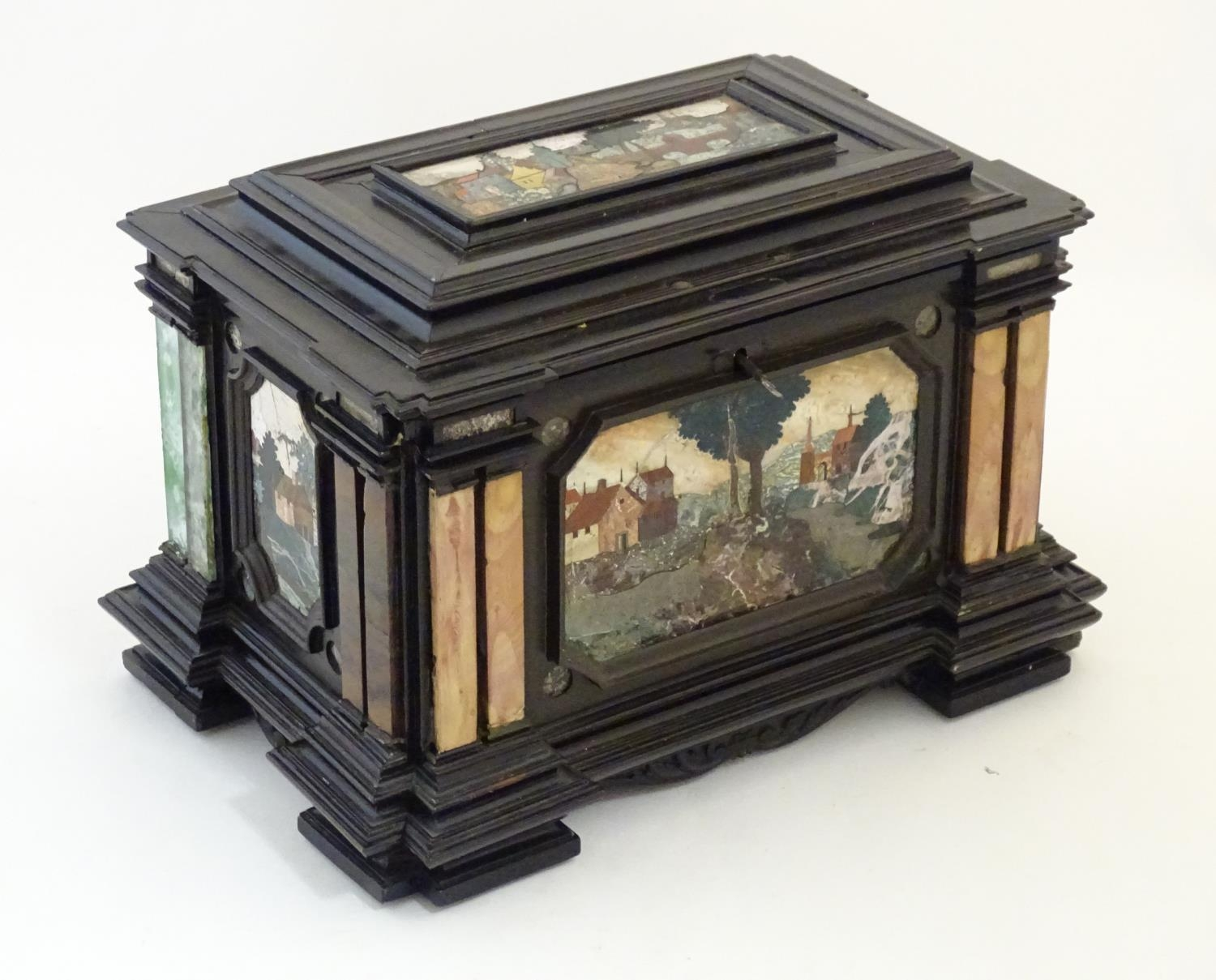 A 19thC Italian Grand Tour table cabinet / casket box of exceptionally large form with specimen - Image 9 of 58