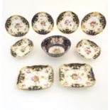 A quantity of 19thC hand painted ceramics to include a large bowl, plates, and serving plates,