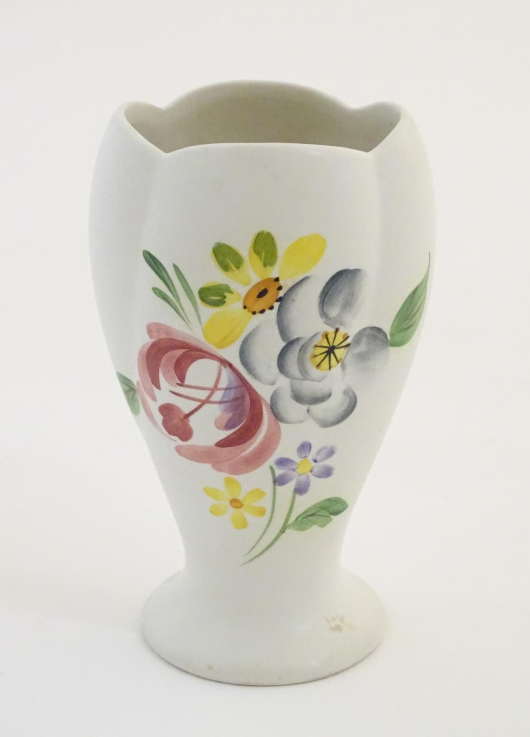 """A Radford hand painted vase with floral and foliate detail. Marked under. Approx. 5 1/2"""" high Please"""