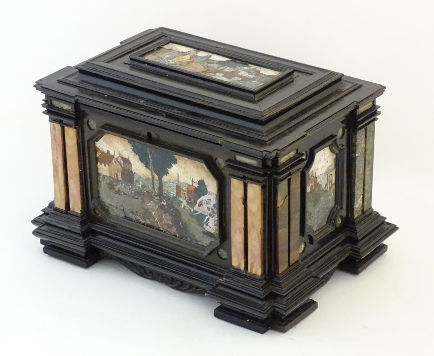 A 19thC Italian Grand Tour table cabinet / casket box of exceptionally large form with specimen - Image 13 of 58