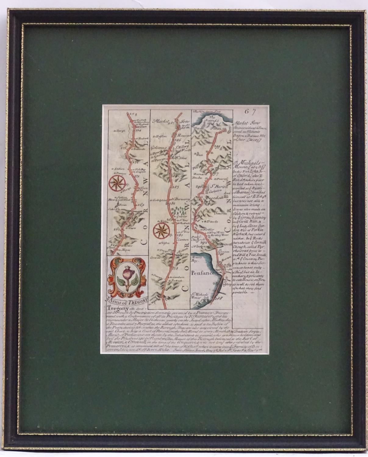 Map: An 18thC hand coloured engraved road strip map of Cornwall, showing the route from Tregony to