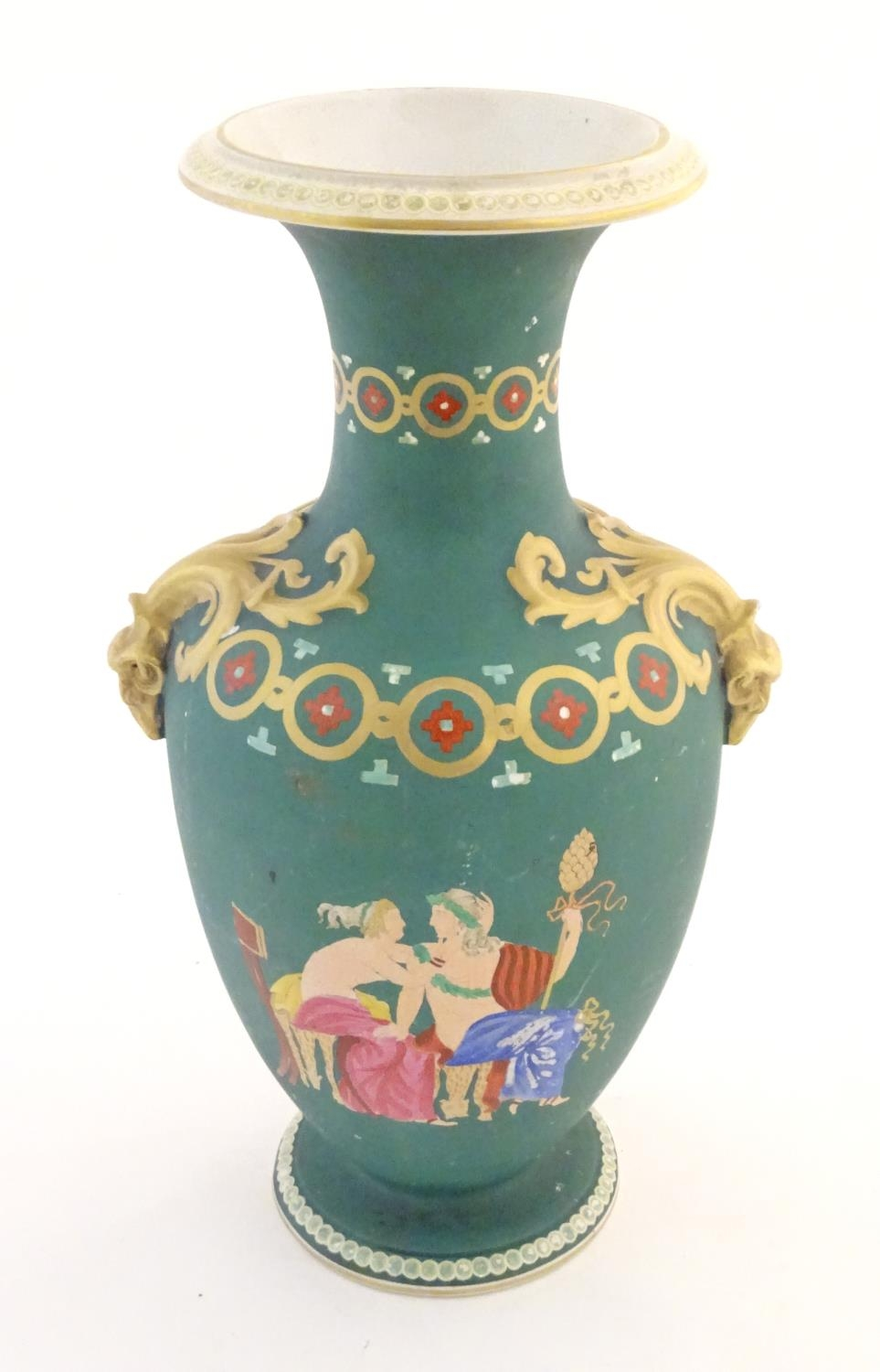 A Prattware baluster vase with Classical decoration depicting a Roman gladiator and chariot etc.