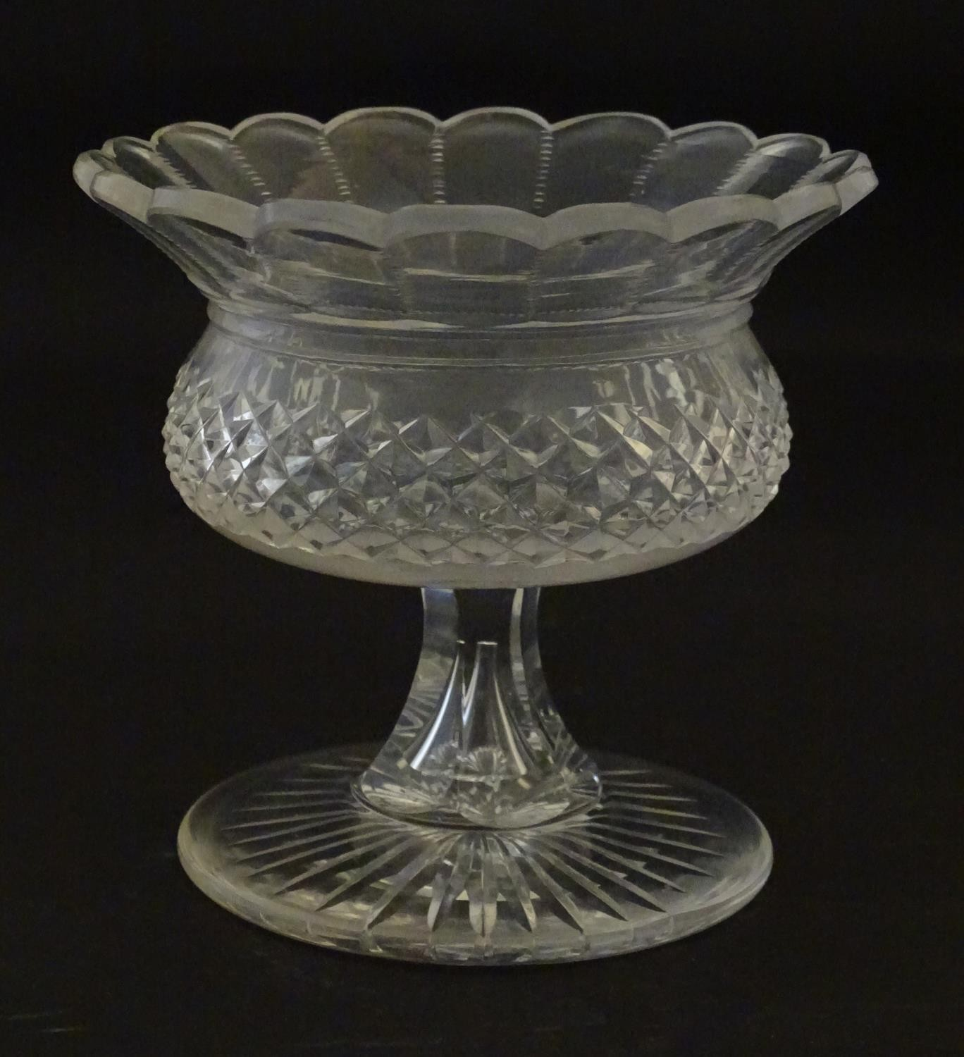 """A 19thC cut glass small tazza / bowl, probably by Waterford. 5"""" high Please Note - we do not make - Image 3 of 5"""