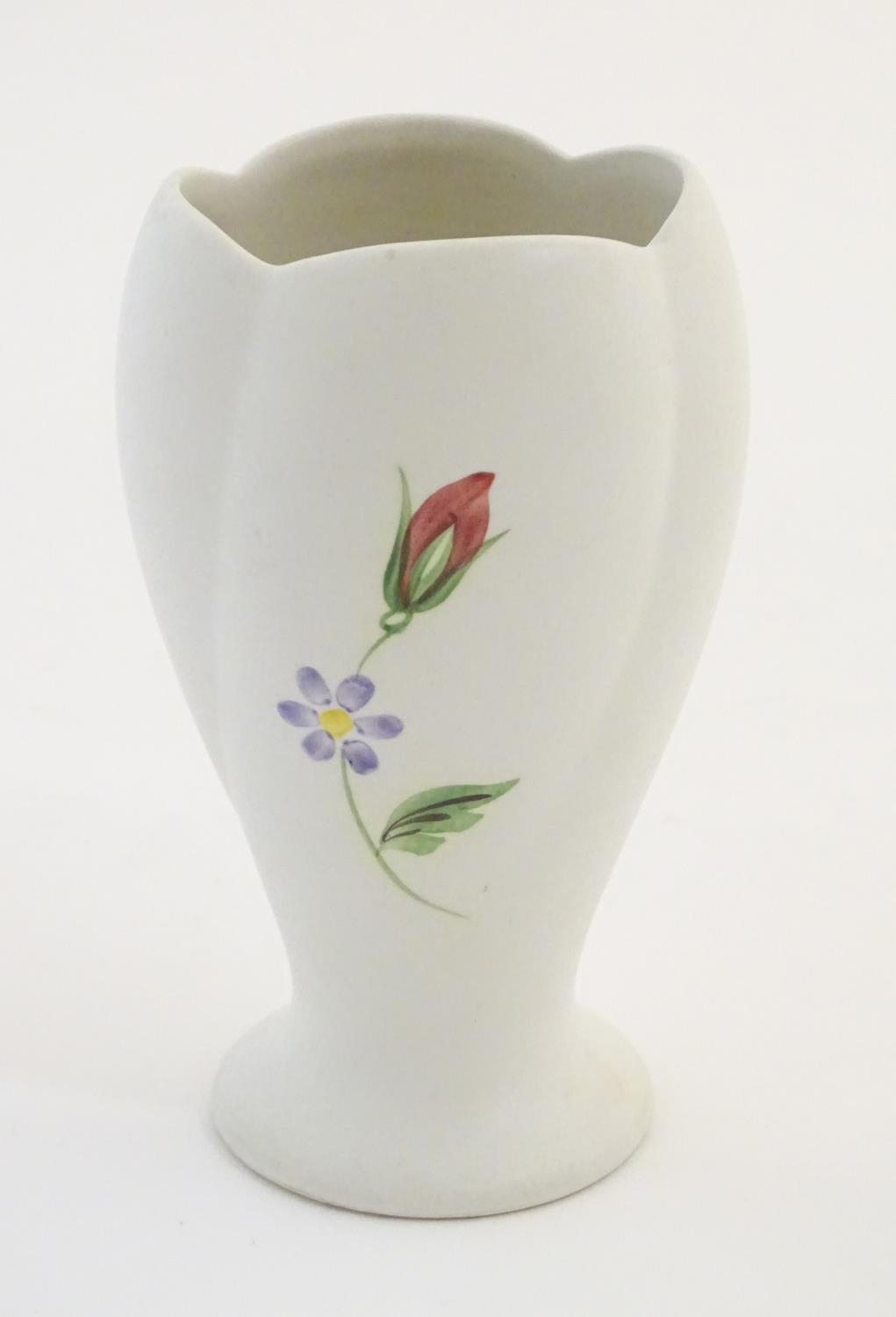 """A Radford hand painted vase with floral and foliate detail. Marked under. Approx. 5 1/2"""" high Please - Image 4 of 6"""
