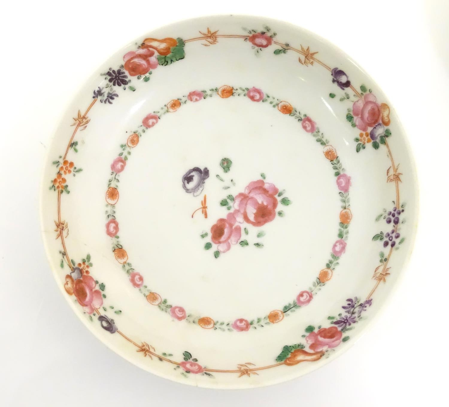 A New Hall style saucer with hand painted floral and foliate detail. Together with another. - Image 18 of 18
