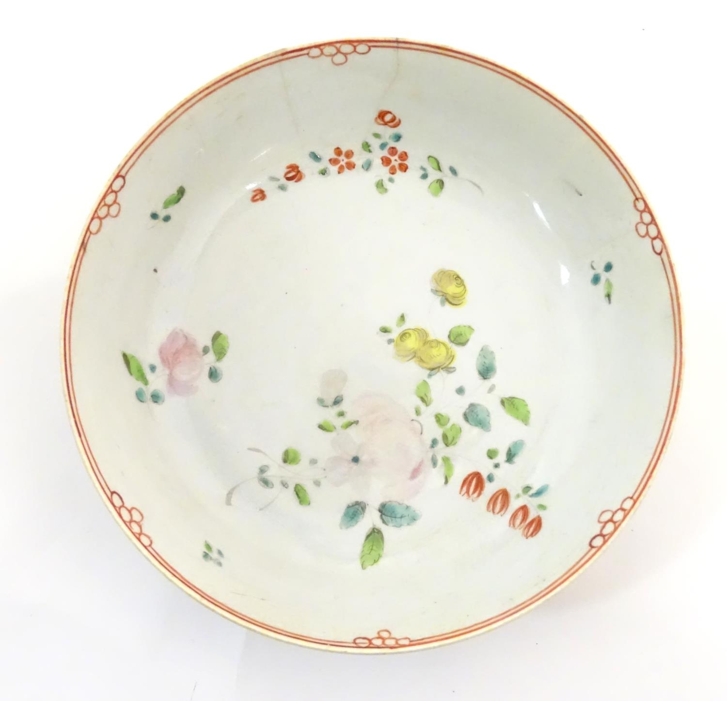 A New Hall style saucer with hand painted floral and foliate detail. Together with another. - Image 16 of 18