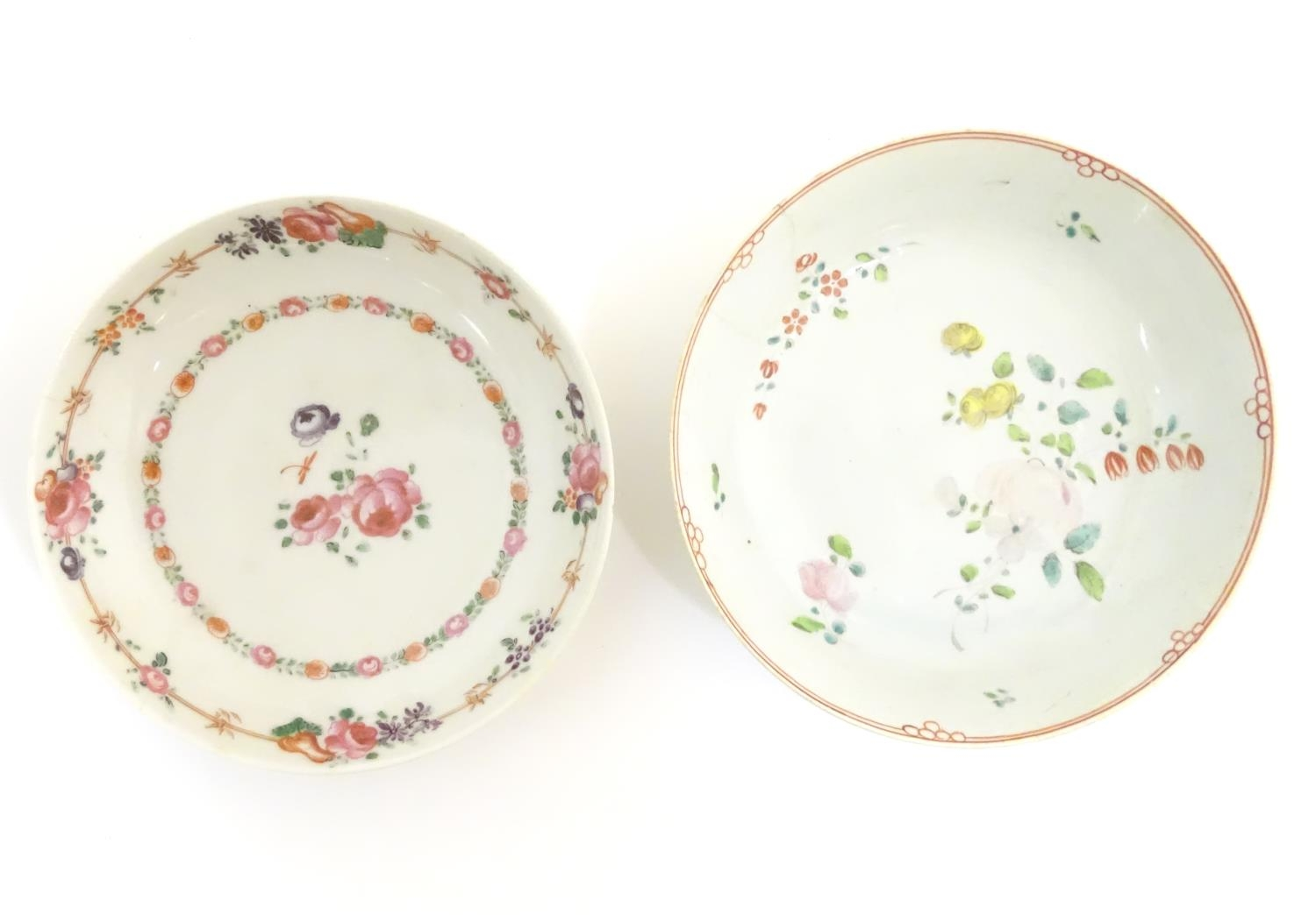 A New Hall style saucer with hand painted floral and foliate detail. Together with another. - Image 3 of 18