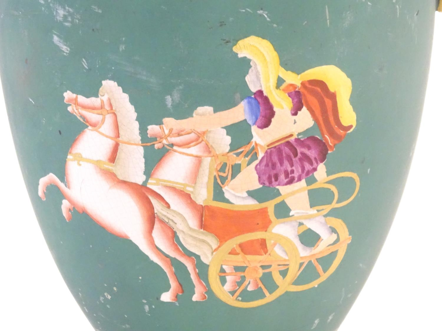 A Prattware baluster vase with Classical decoration depicting a Roman gladiator and chariot etc. - Image 10 of 12