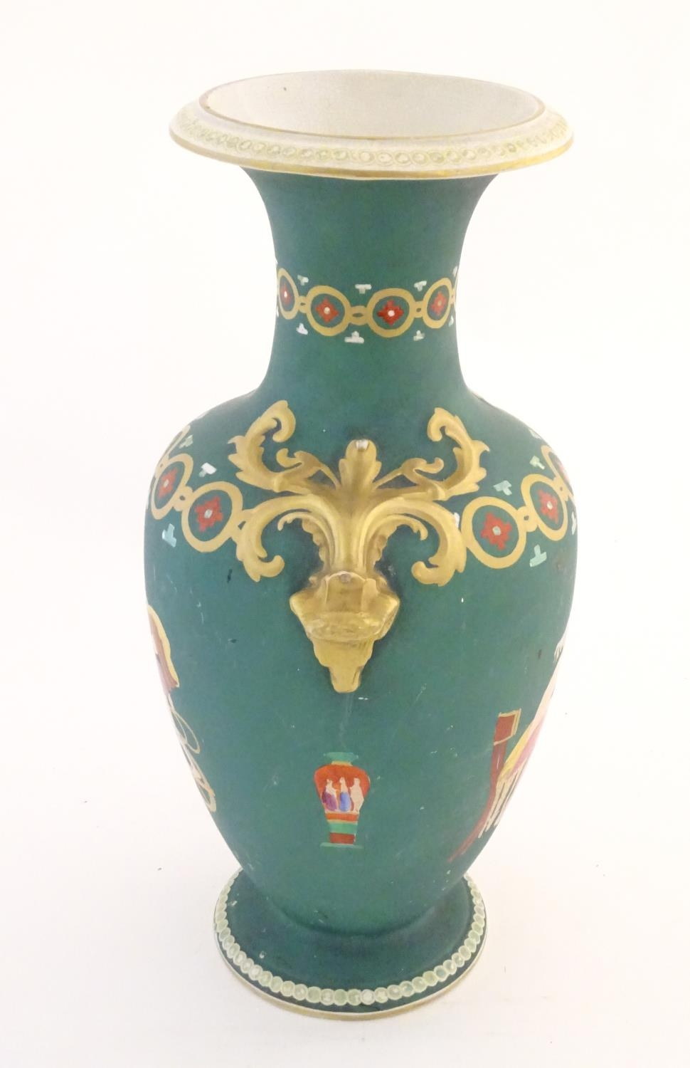 A Prattware baluster vase with Classical decoration depicting a Roman gladiator and chariot etc. - Image 8 of 12
