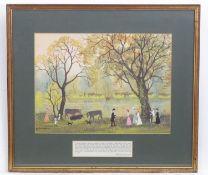 Helen Layfield Bradley (1900-1979), Lancashire School, Chromolithograph, Friday Walk by the River, A