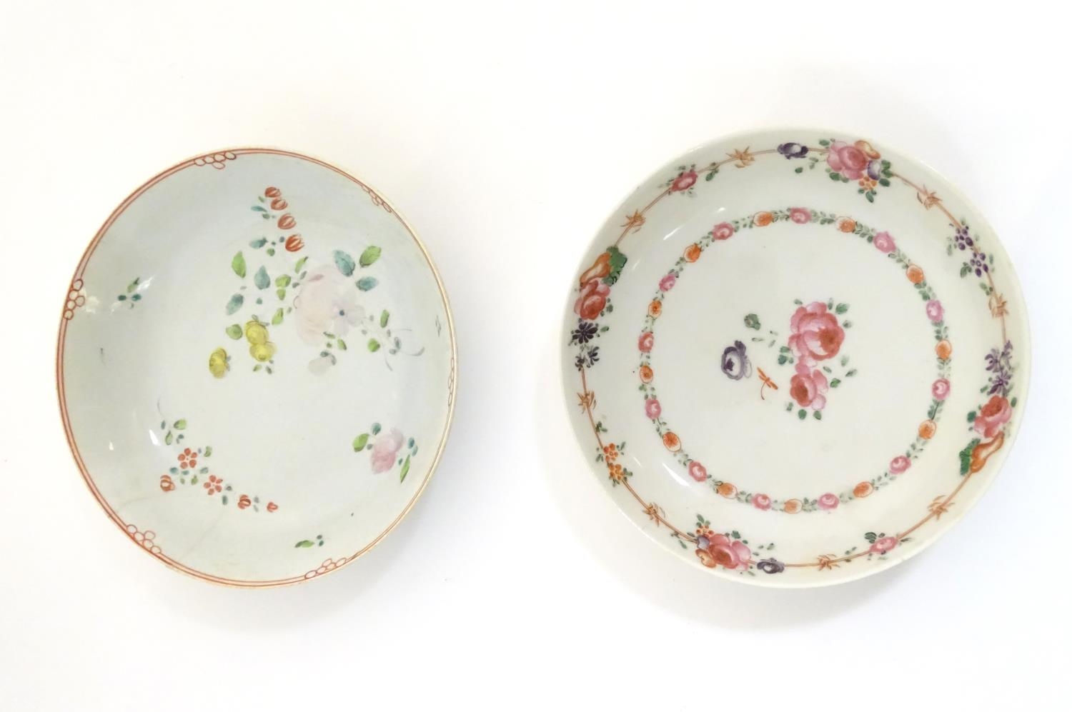A New Hall style saucer with hand painted floral and foliate detail. Together with another. - Image 5 of 18