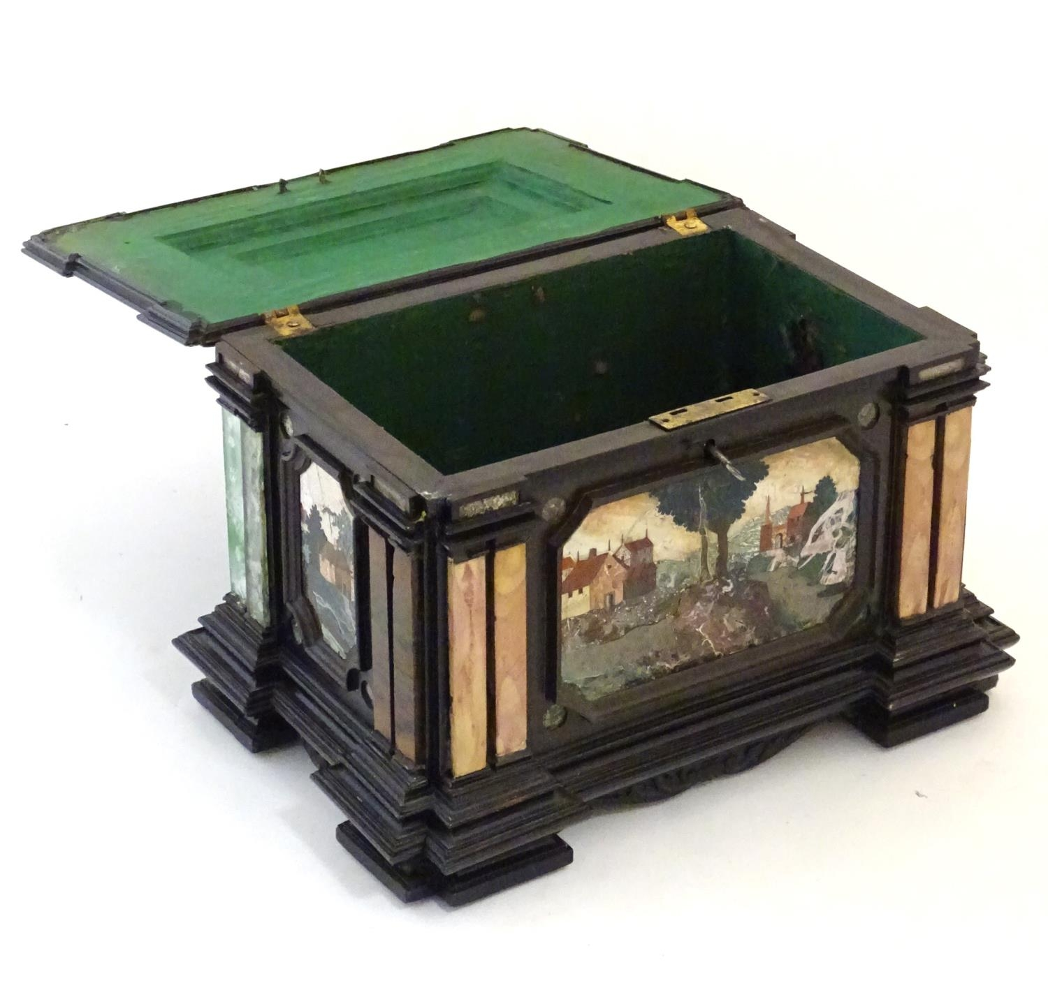 A 19thC Italian Grand Tour table cabinet / casket box of exceptionally large form with specimen - Image 5 of 58