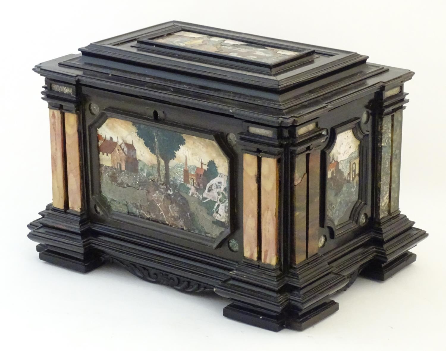 A 19thC Italian Grand Tour table cabinet / casket box of exceptionally large form with specimen - Image 16 of 58