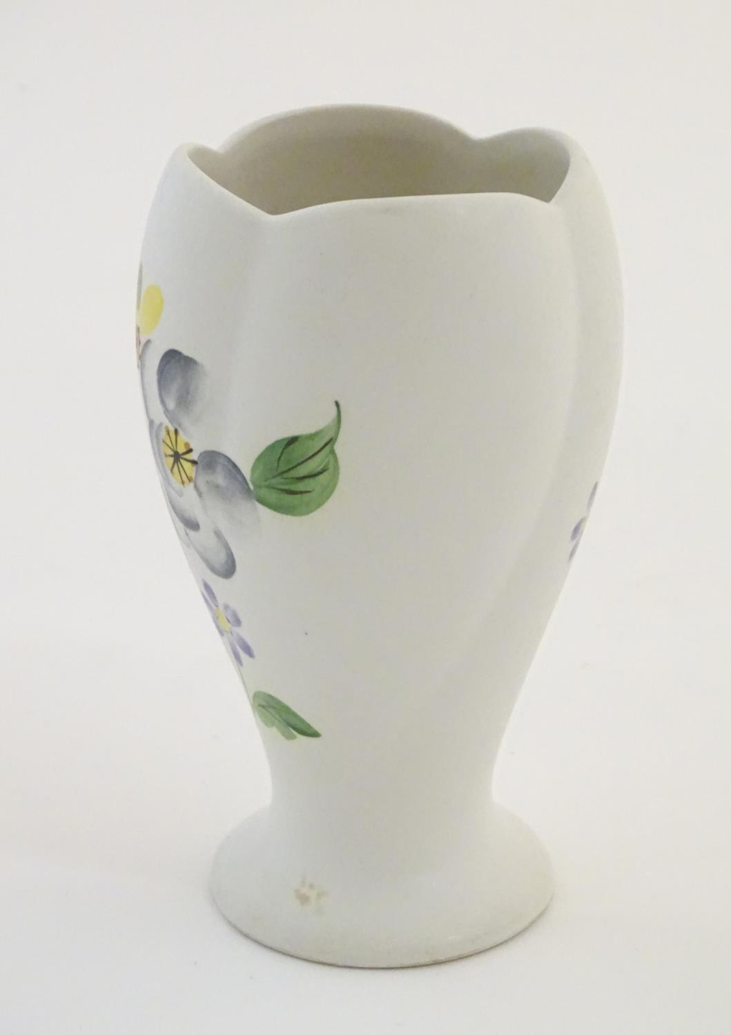 """A Radford hand painted vase with floral and foliate detail. Marked under. Approx. 5 1/2"""" high Please - Image 5 of 6"""