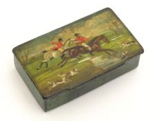 A Victorian papier mache table snuff box with hand painted decoration depicting a hunting scene with