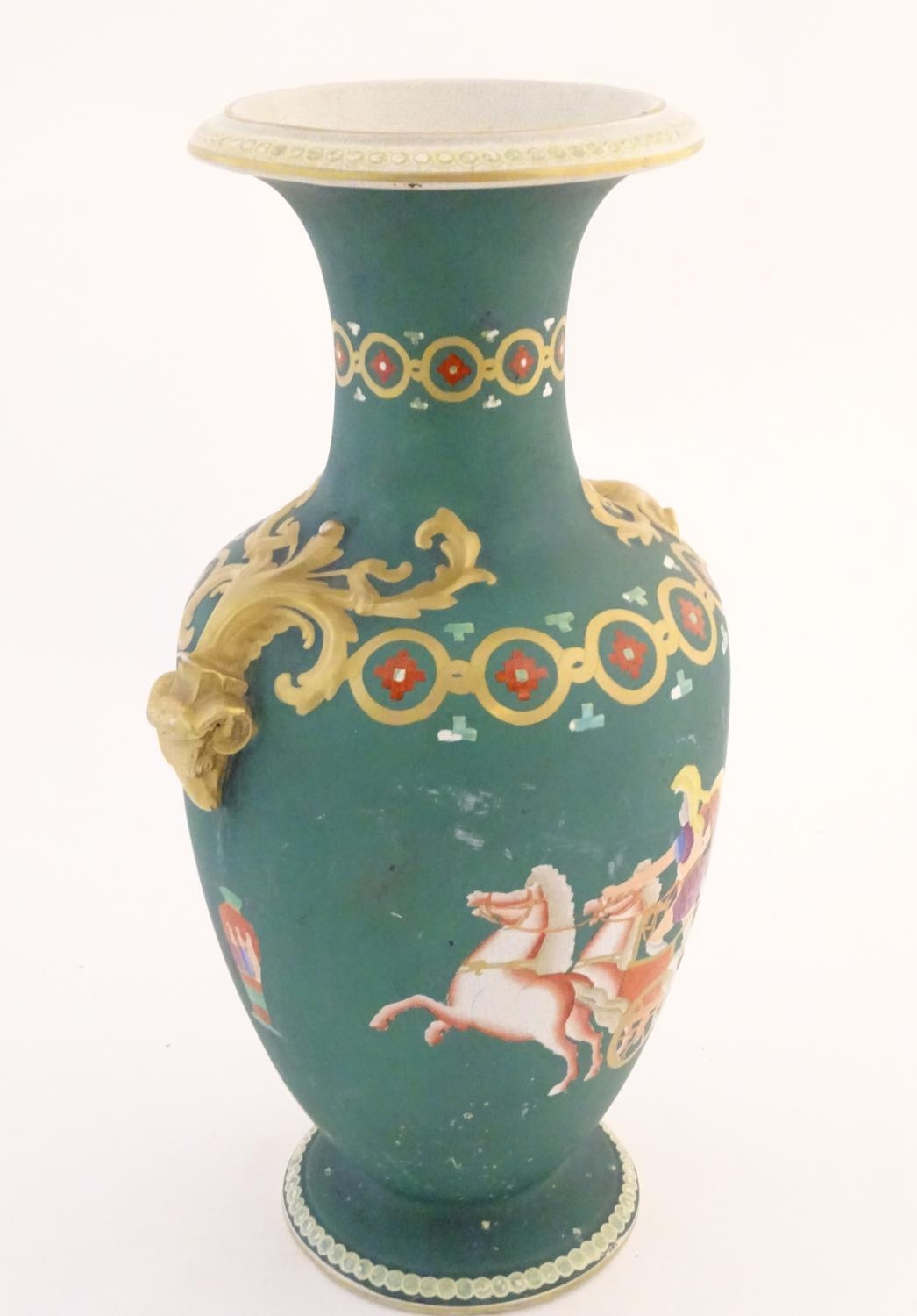 A Prattware baluster vase with Classical decoration depicting a Roman gladiator and chariot etc. - Image 6 of 12