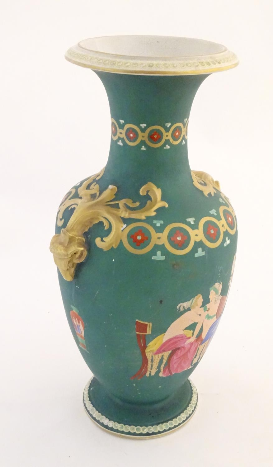 A Prattware baluster vase with Classical decoration depicting a Roman gladiator and chariot etc. - Image 3 of 12