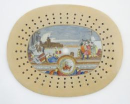 """A Chinese export drainer depicting a Western scene with dignitaries and merchants. Approx. 11 3/4"""" x"""
