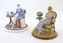 A Coalport limited edition figure Diana at Home, no. 315/2450. Together with a Franklin Mint limited