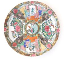 A Chinese / Cantonese plate with panelled decoration depicting flowers, foliage, birds and