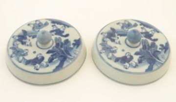 """Two Chinese blue and white lids with figures in a landscape. Approx. 6 1/2"""" diameter (2) Please Note"""