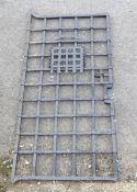Garden & Architectural, Salvage: a 19thC heavy wrought iron 'prison' door / gate with portcullis