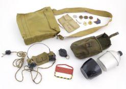 Militaria: assorted 20thC British Army kit items, comprising dog tags, regiment badges, radio