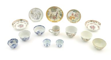 A quantity of assorted Chinese tea bowls, wine cups and saucers. Saucer decoration to include a