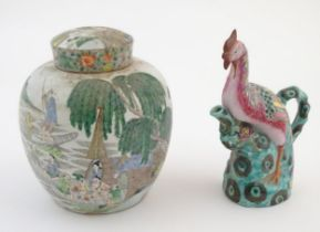 A Chinese ginger jar depicting a wooded river scene with figures on boats, to include men, women,