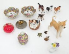 Assorted ceramics and glassware to include a Royal Doulton model of a basket of puppies, Oriental