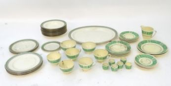 A quantity of Booths china dinner wares to include plates, serving dishes, etc with green banded