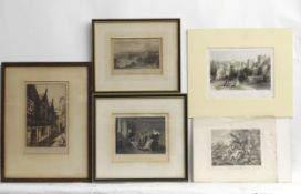 Assorted prints to include, a hand coloured engraving by J. C. Bentley after T. Allom, The Triple