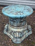 """A reconstituted stone painted garden plant stand formed as an Iconic column capital. Approx. 15 1/2"""""""