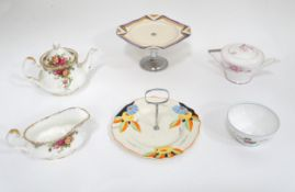 Assorted 20thC ceramics to include an Art Deco Shelley Apple Blossom teapot, Myott & Son cake stand,
