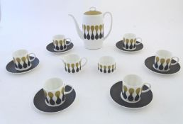 A quantity of retro Susie Cooper coffee wares in the pattern Diablo, designed for Wedgwood.