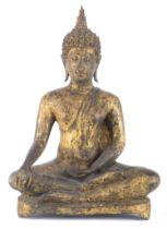 Bouddha de style Ayuttaya en bronze à patine verte et or, XIV-XVIe