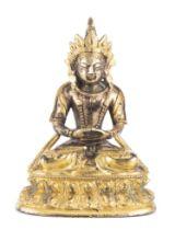 Bouddha Amitayus en bronze doré d'époque Qianlong