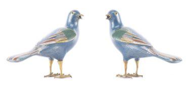 Paire de colombes en cloisonné de Chine, époque Qianlong