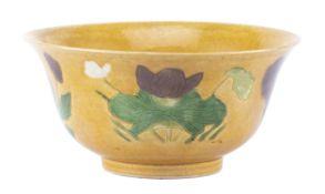 """Brinjal bol en biscuit de Chine, marque """"Da Qing Tianqi nianzhi"""", (1621~1627)"""