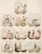 * Trades & Pastimes. A collection of leaves with hand-drawn illustrations, circa 1832