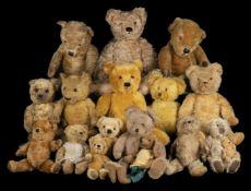* Teddy Bears. A Chiltern teddy bear, 1930s, & others