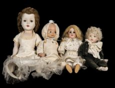 * Dolls. A bisque head doll, French, early 20th century, & 3 others