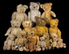 * Teddy Bears. An early teddy bear, probably British, 1930s, & others