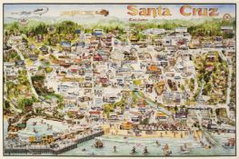 California. Santa Cruz, 1988, colour photographic pictorial map of Santa Cruz