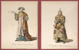 China. Ten plates from A Collection of the Dresses of Different Nations, 1757-72, and 1 other