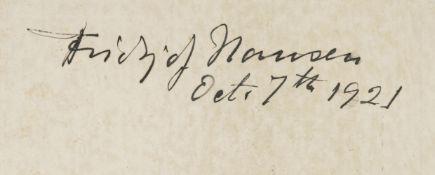 Nansen (Fridtjof, 1861-1930). Signed menu card, Oct 7th 1921