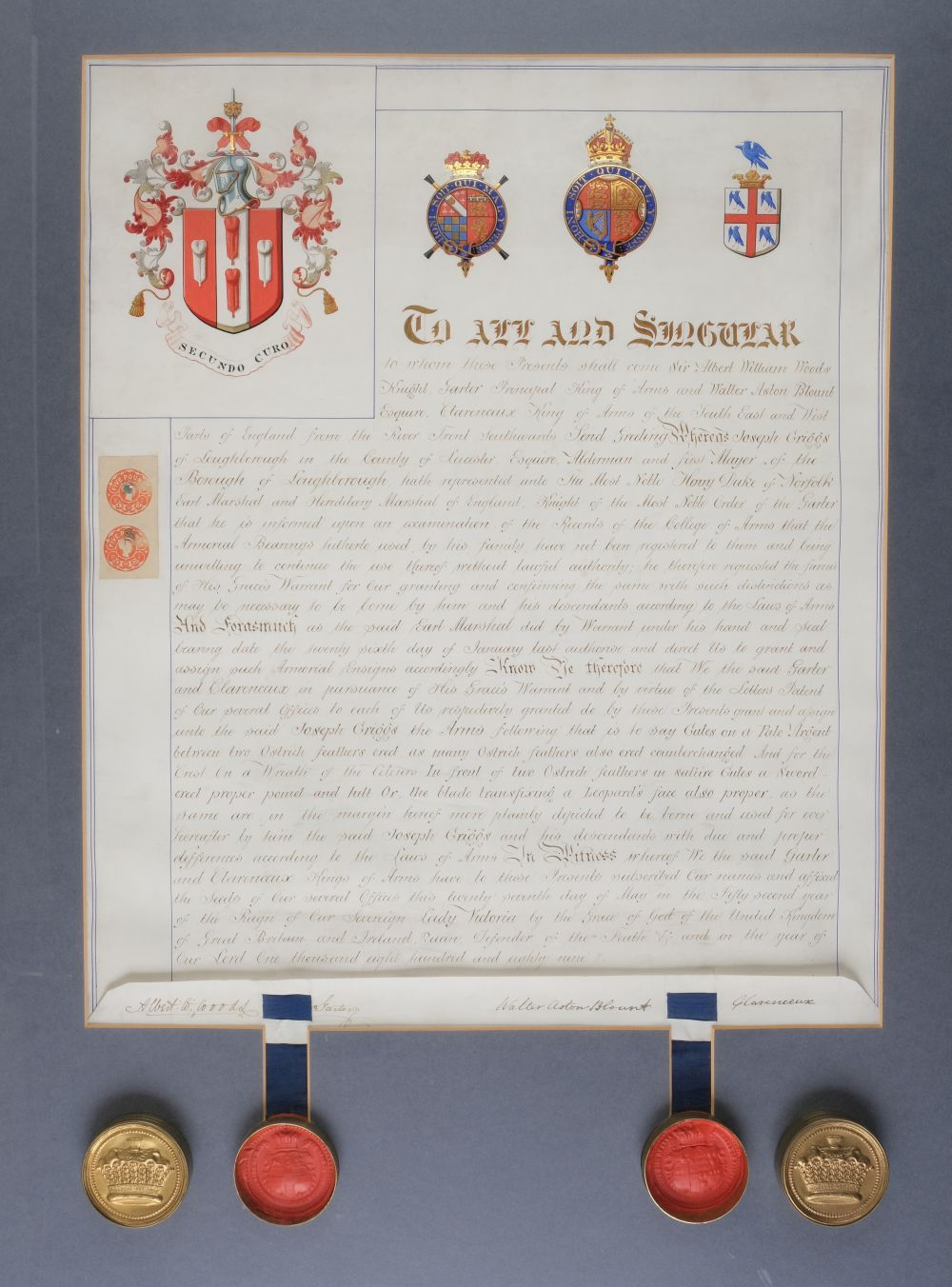 * Heraldry. Grant of arms of Joseph Griggs of Loughborough, 1889 - Image 2 of 2