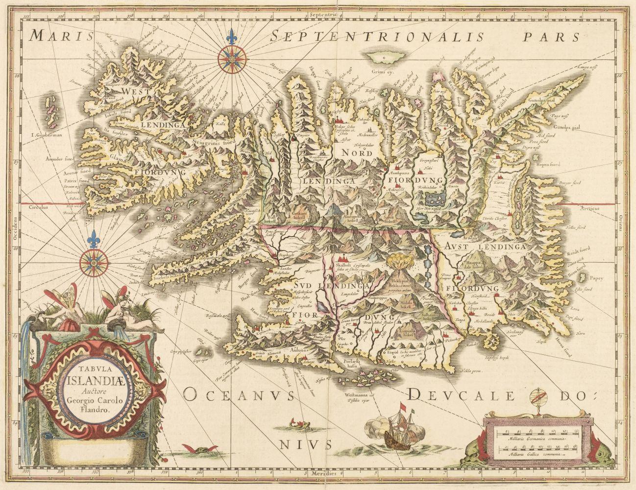 Iceland. Jansson (Jan), Tabula Islandiae Auctore Georgio Carolo Flandro, circa 1650